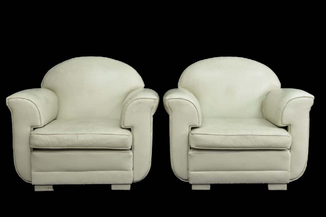 PAIR OF WHITE LEATHER DECO STYLE CLUB CHAIRS
