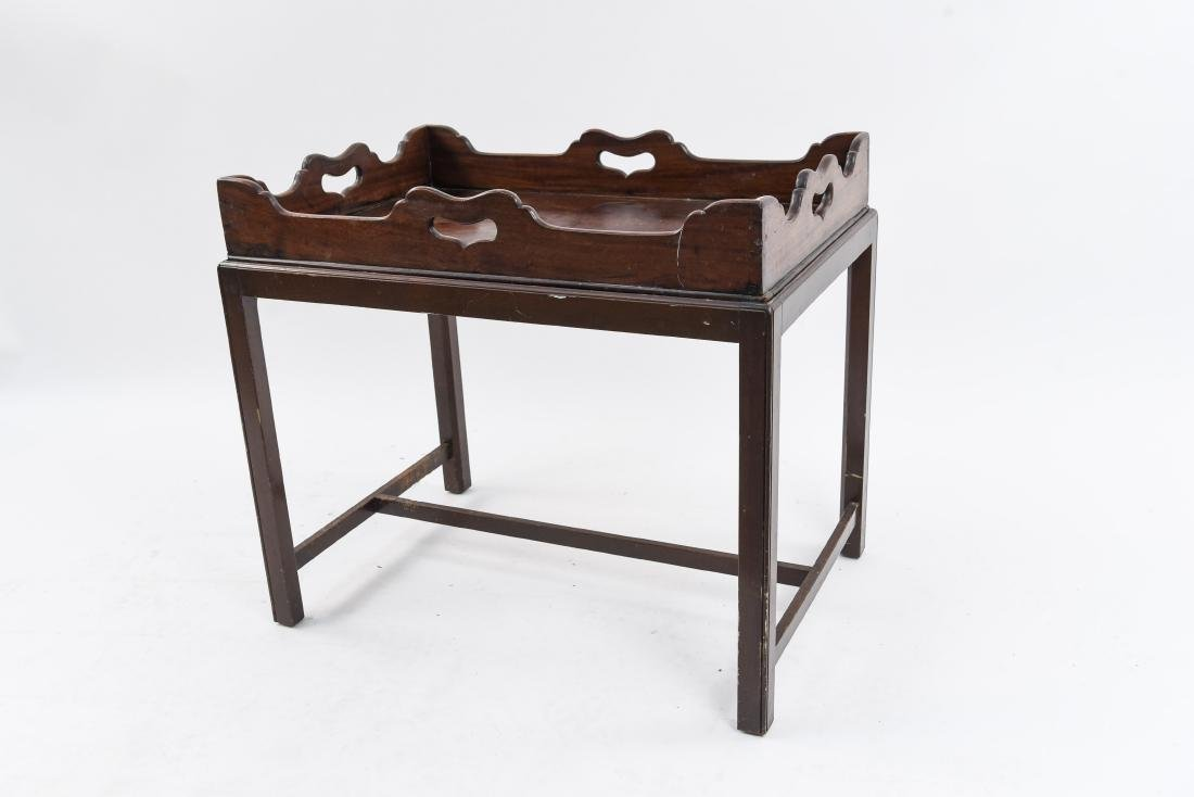ANTIQUE MAHOGANY TRAY ON TABLE STAND