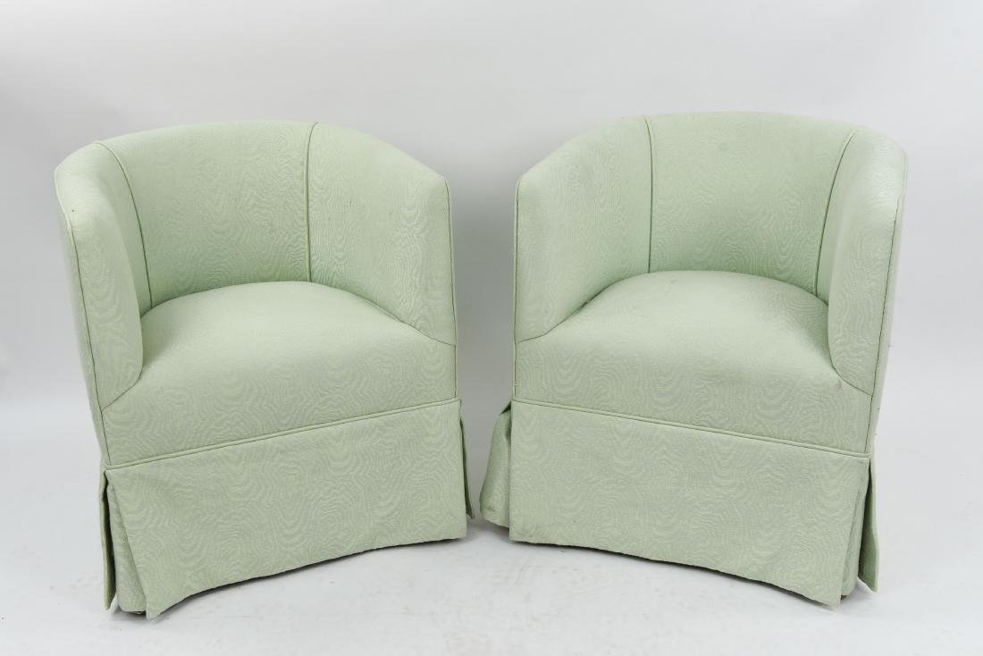 PAIR OF UPHOLSTERED BARREL BACK CLUB CHAIRS