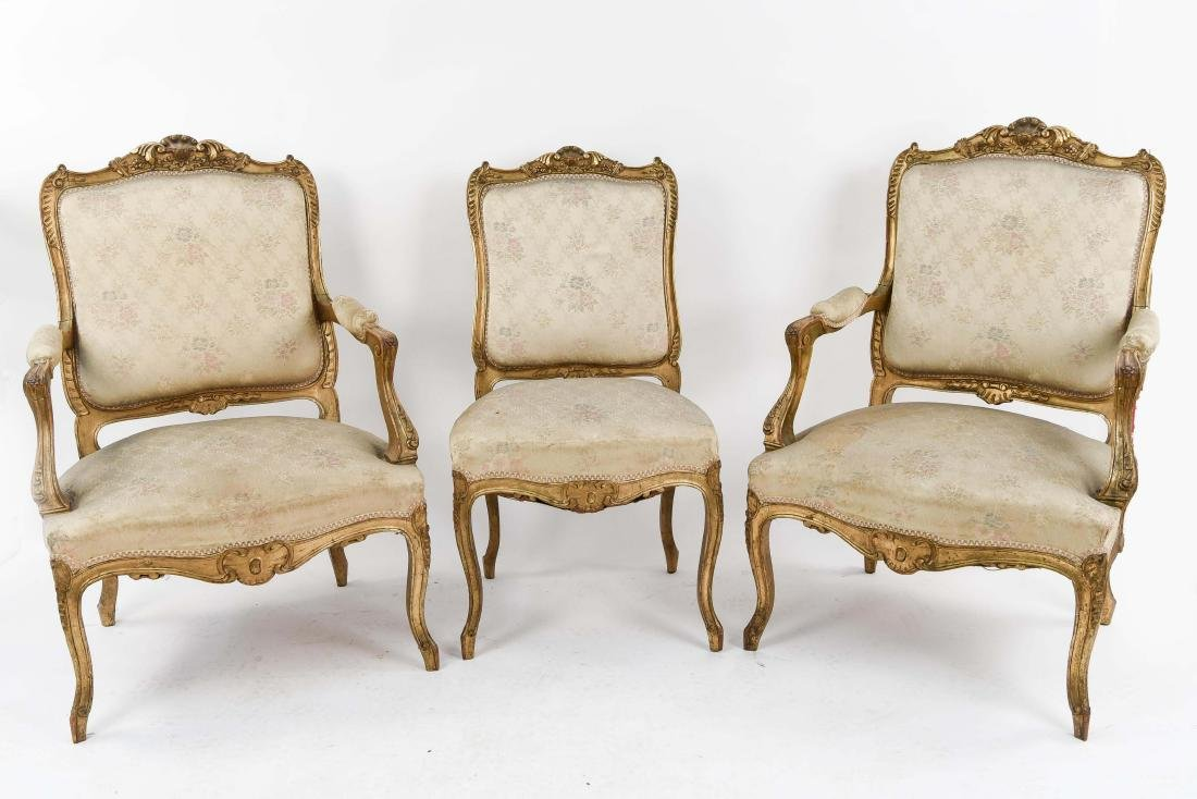 (3) LOUIS XV FRENCH GILT AND UPHOLSTERED CHAIRS