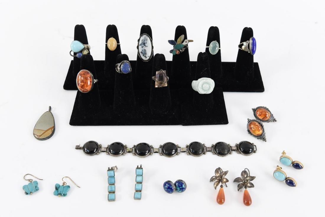 GROUPING OF STONE AND STERLING JEWELRY