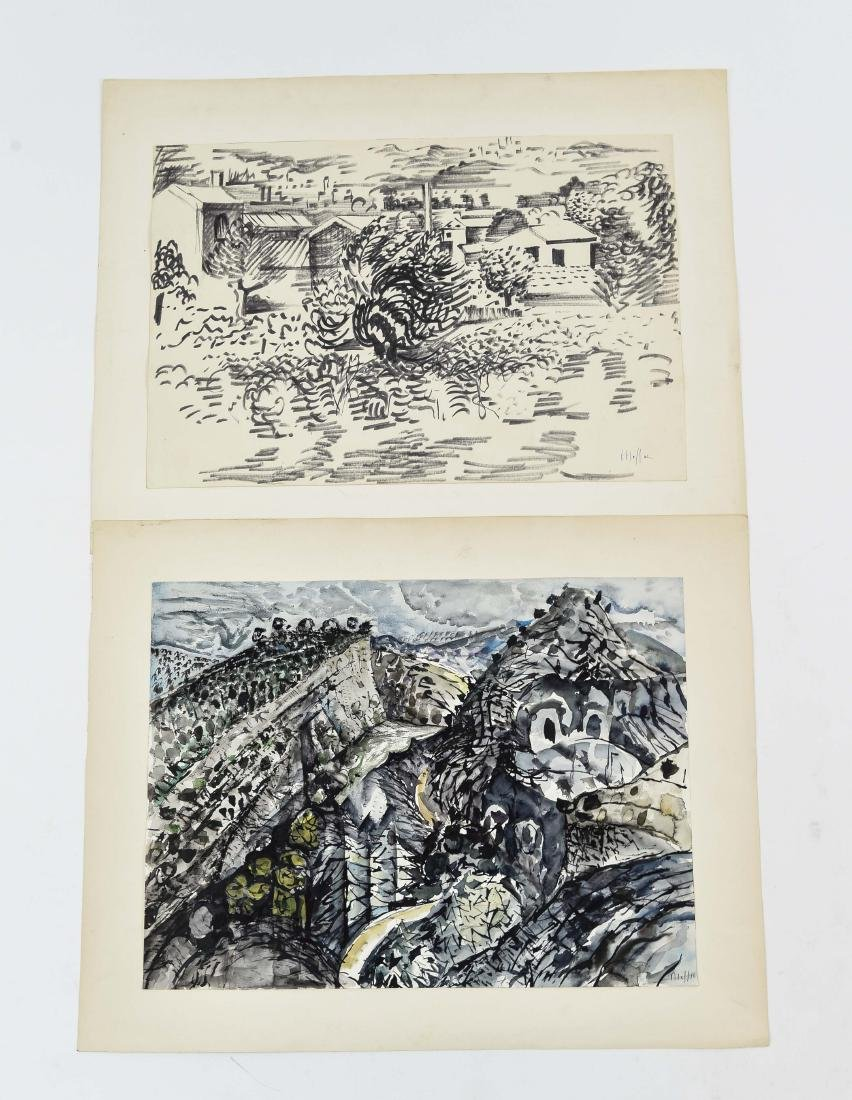 (2) ISRAELI SIGNED INK & GOUACHE LANDSCAPE VIEWS