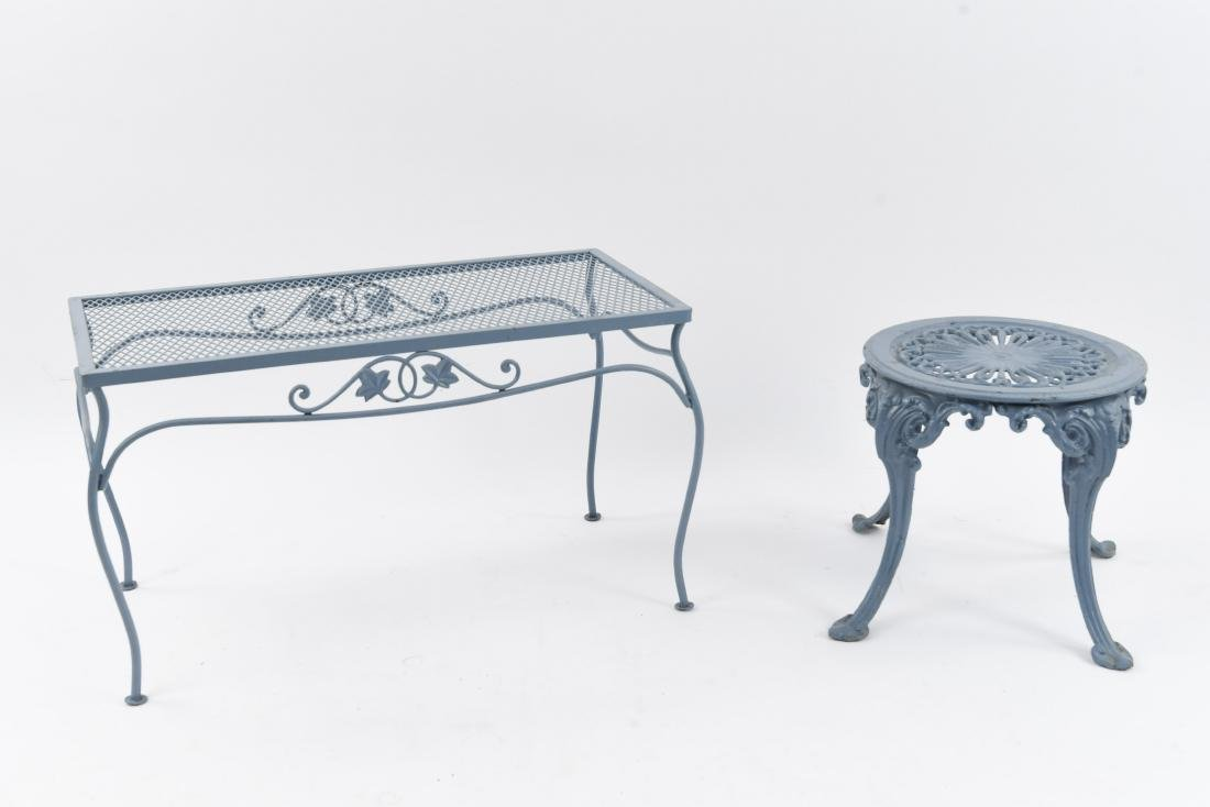 (2) OUTDOOR IRON TABLES