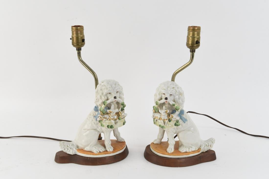 PAIR OF PORCELAIN POODLE DOG LAMPS