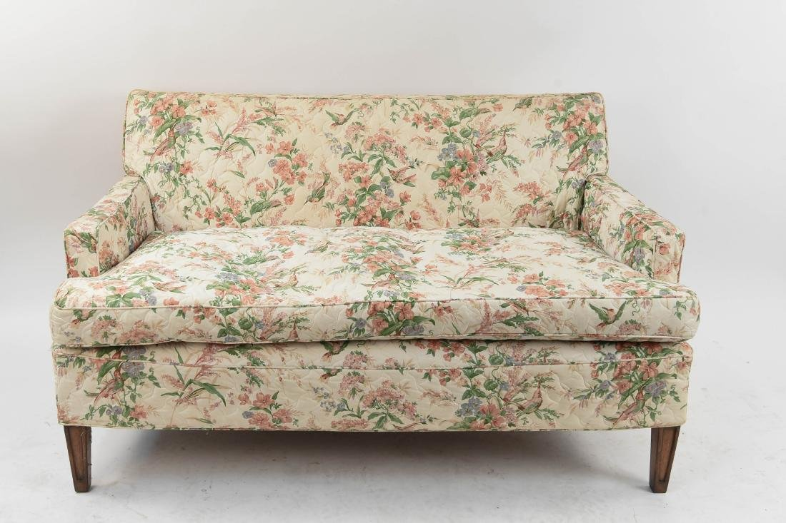 FLORAL QUILTED UPHOLSTERY LOVESEAT