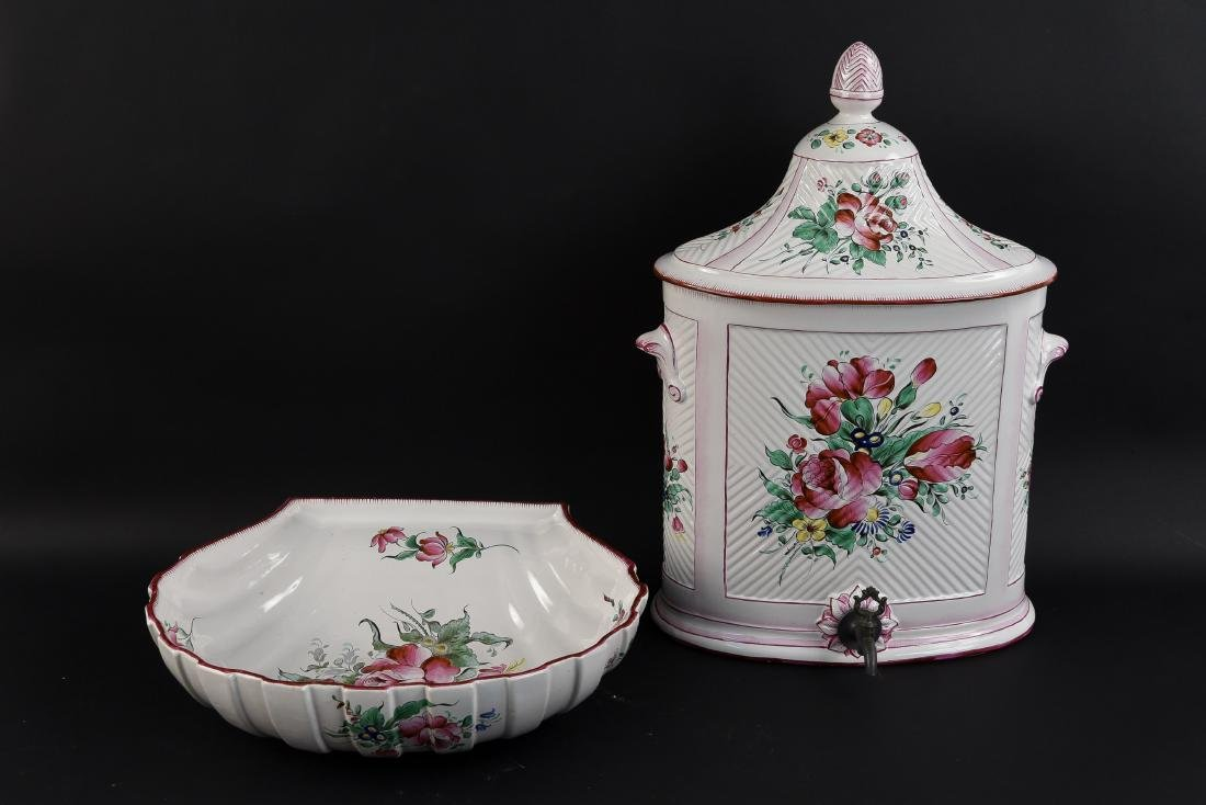 ST. CLEMENT FRENCH FAIENCE WASH BASIN AND BOWL