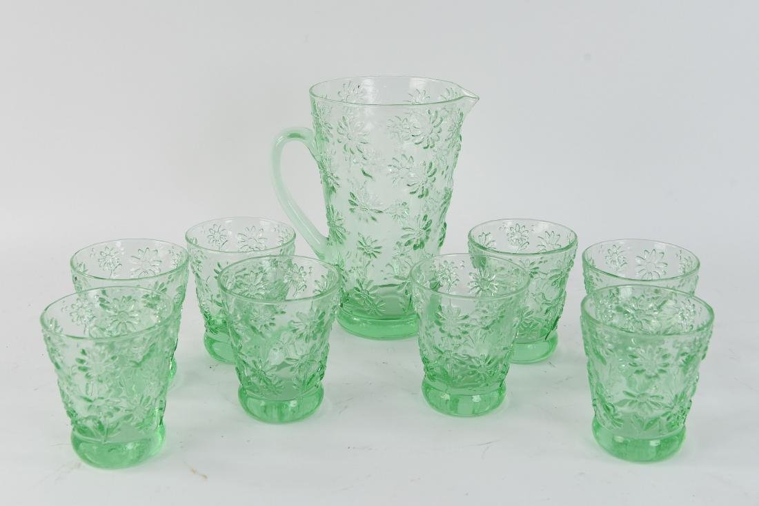 GREEN PITCHER AND GLASS SET