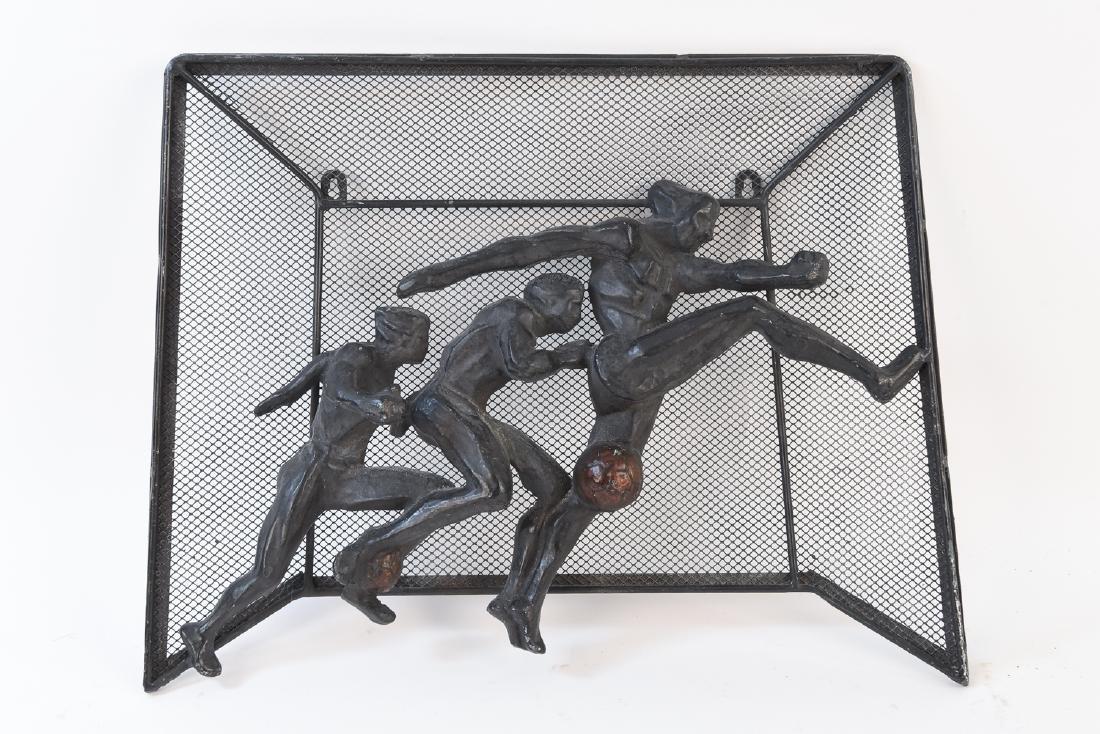 MID-CENTURY SOCCER METAL WALL SCULPTURE