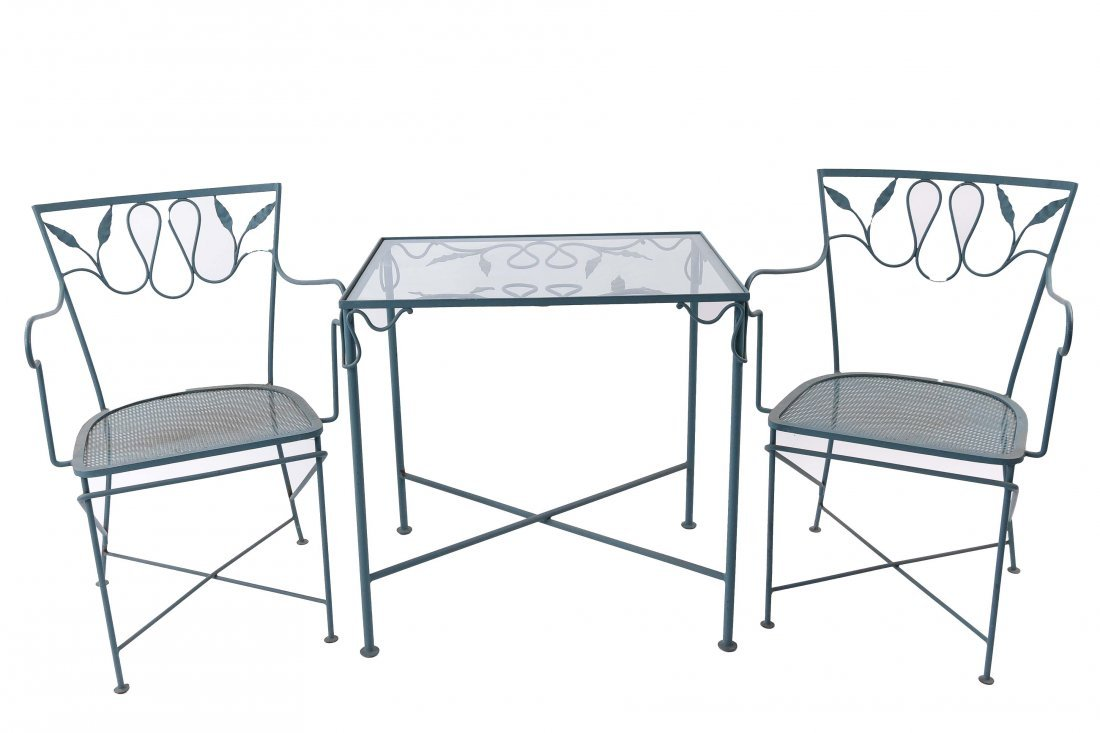 IRON OUTDOOR GLASS TOP TABLE AND CHAIRS