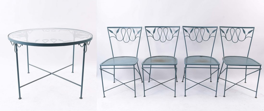 WROUGHT IRON OUTDOOR TABLE AND (4) CHAIRS