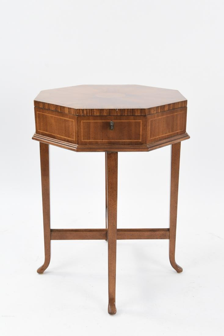 CONTEMPORARY INLAID OCTAGONAL SEWING TABLE BOX