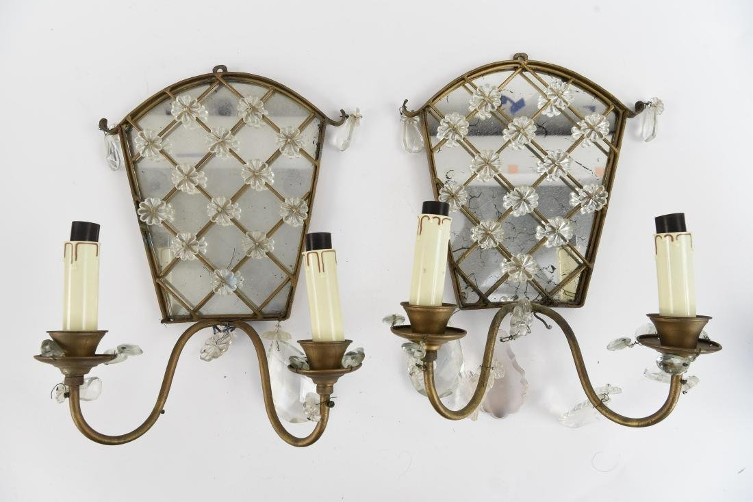 PAIR OF GLASS & BRASS SCONCES