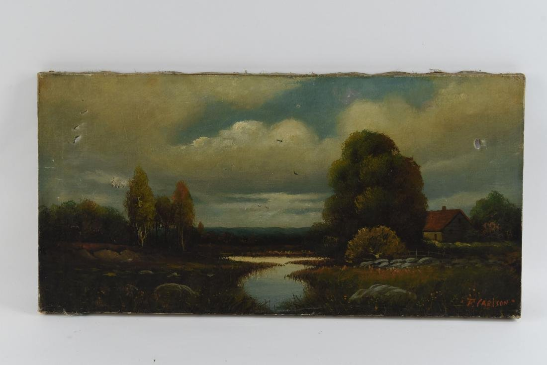 F. CARLSON OIL ON CANVAS LANDSCAPE