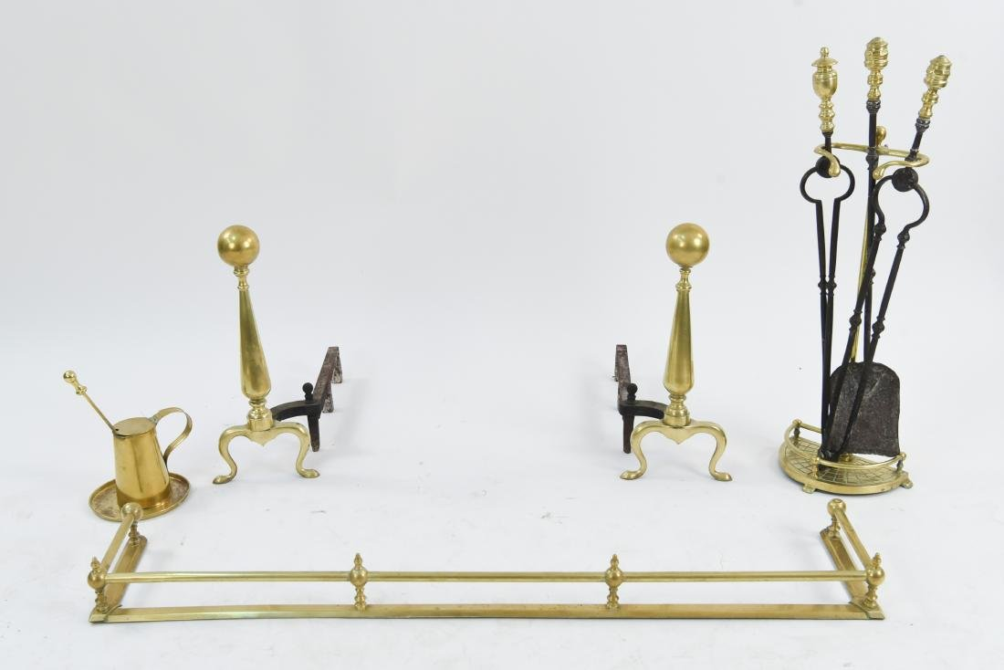 BRASS FIREPLACE SET ANDIRONS, FENDER, TOOLS, ETC.