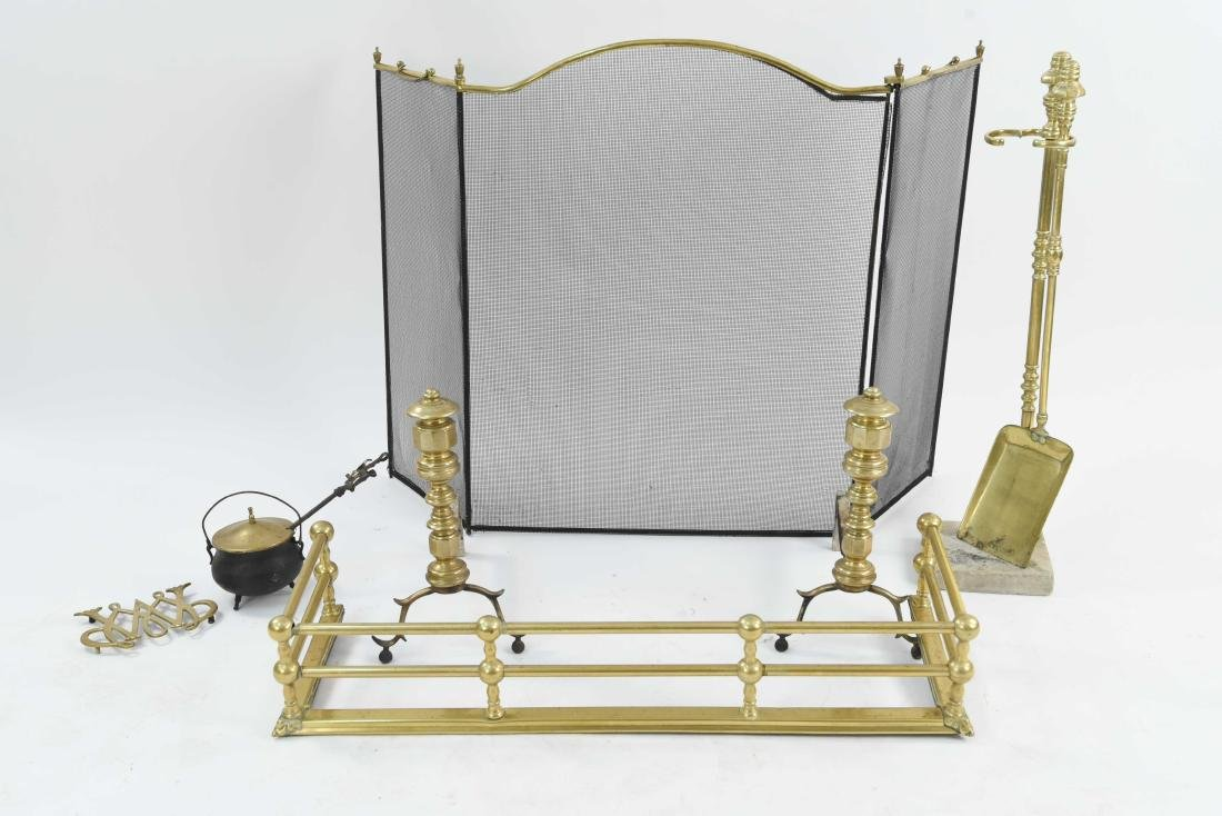 BRASS FIREPLACE SET ANDIRONS, FENDER, SCREEN, TOOL