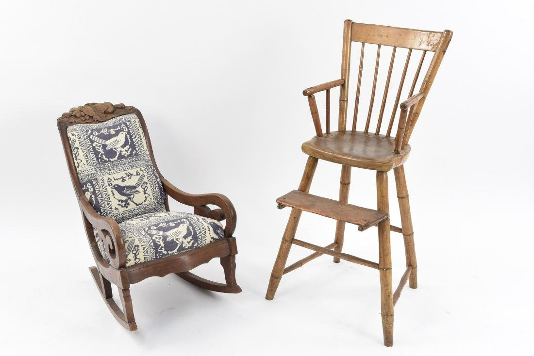 (2) ANTIQUE CHILD'S CHAIRS
