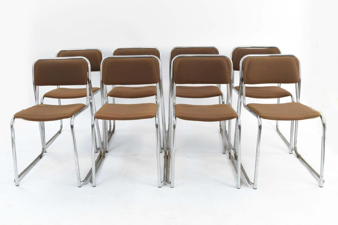 (8) MID-CENTURY CHROME UPHOLSTERED STACKING CHAIRS