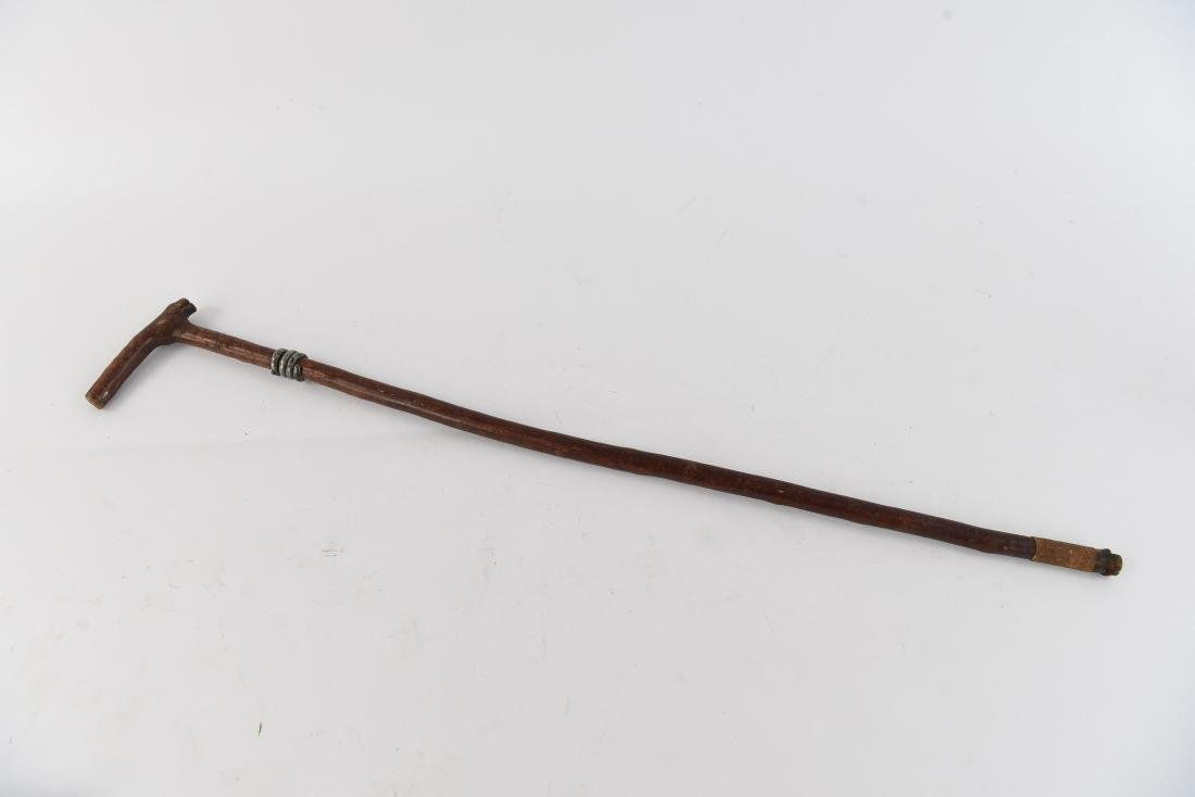 STERLING SILVER ACCENT WOODEN CANE