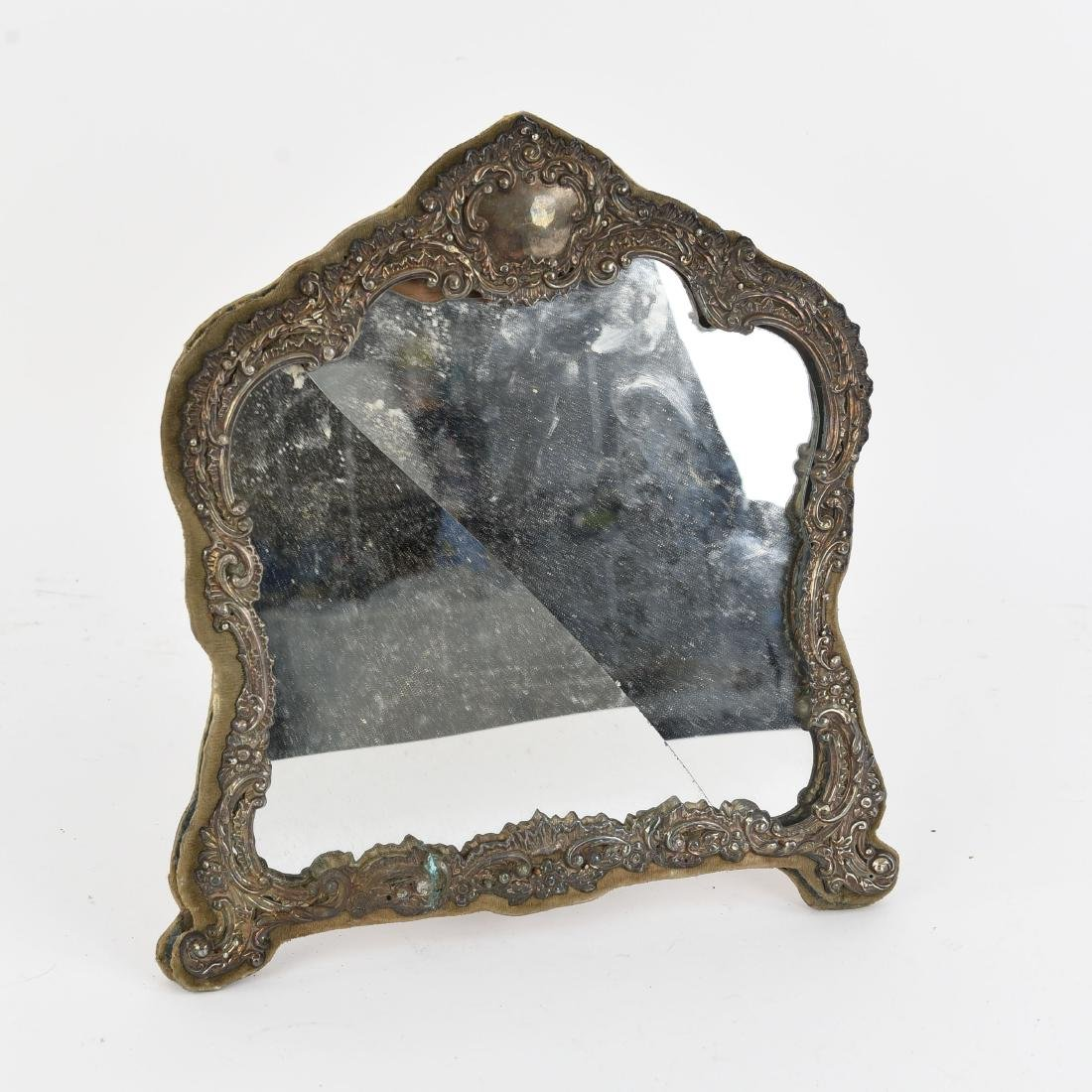 SILVER REPOUSSE VANITY MIRROR