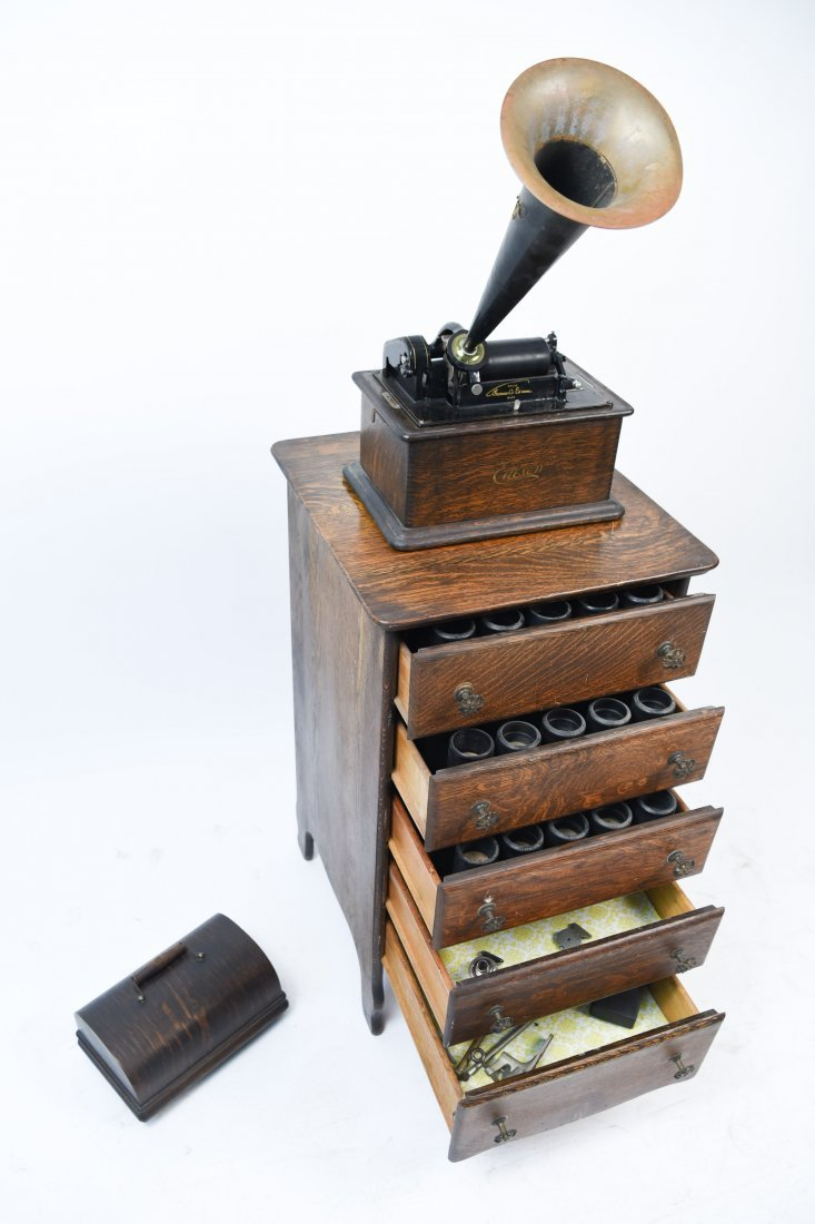 EDISON PHONOGRAPH W/ MUSIC ROLL CABINET