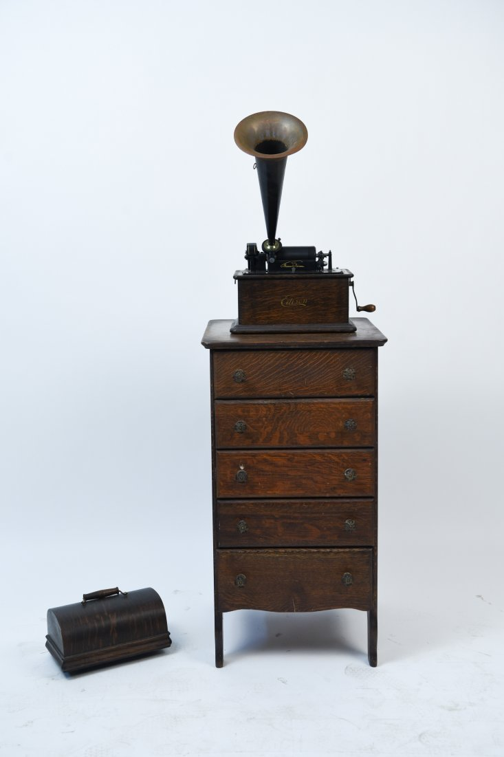 EDISON PHONOGRAPH W/ MUSIC ROLL CABINET - 2