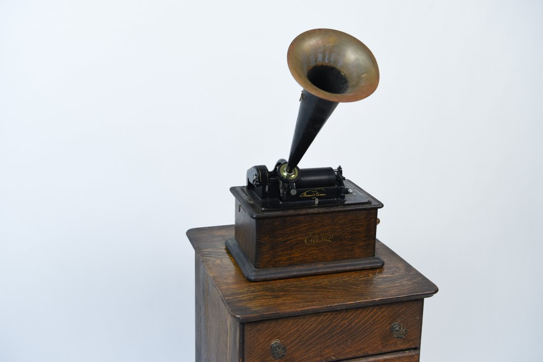 EDISON PHONOGRAPH W/ MUSIC ROLL CABINET - 3