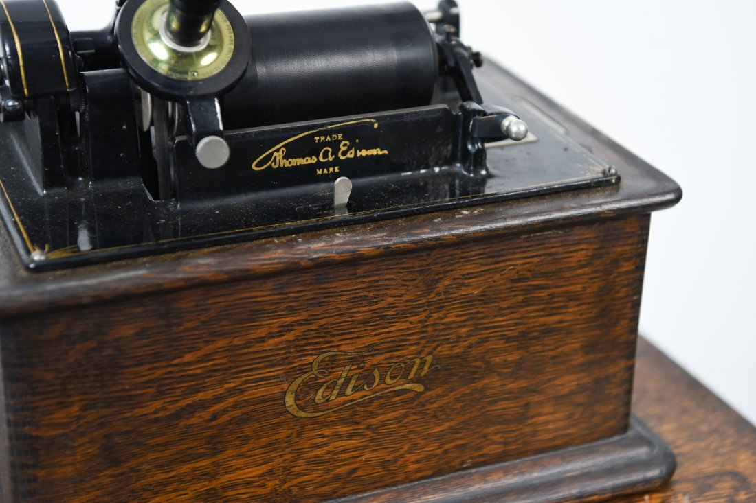 EDISON PHONOGRAPH W/ MUSIC ROLL CABINET - 5