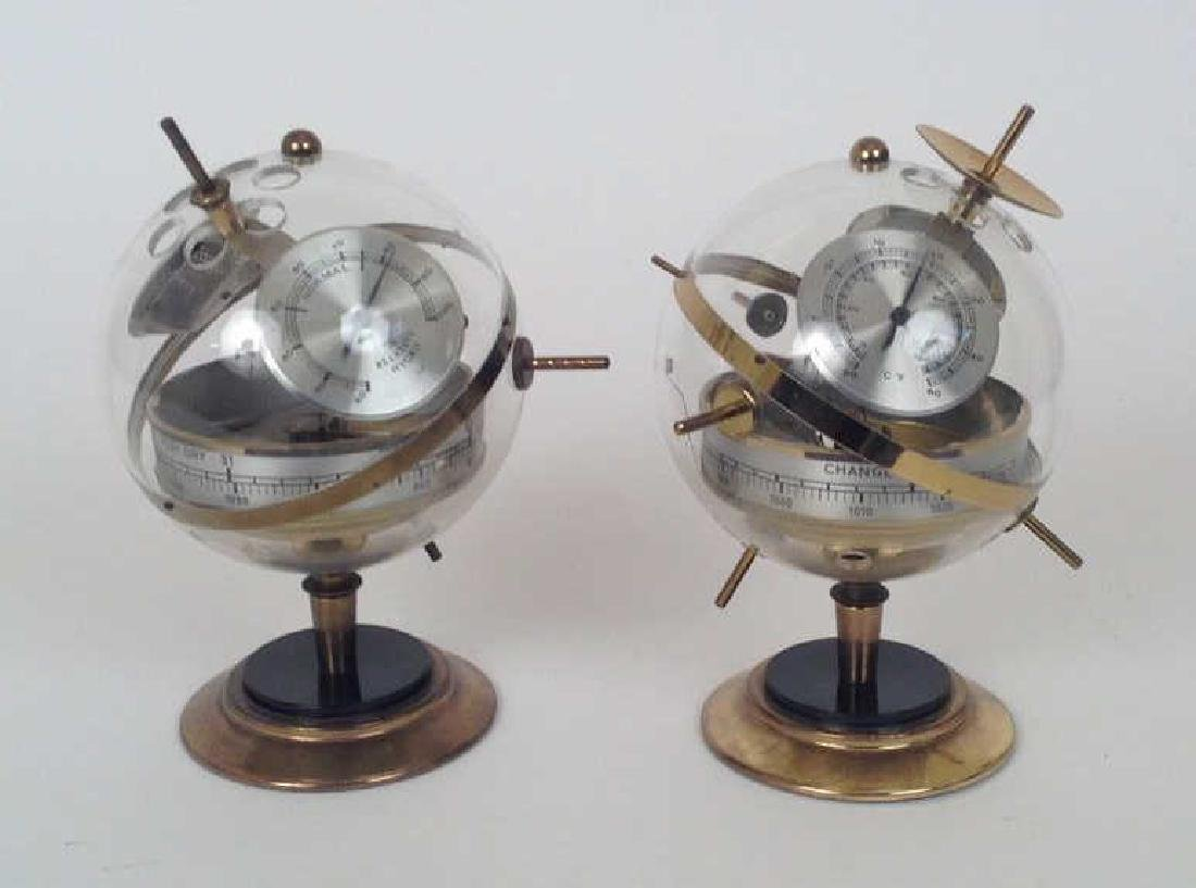 PAIR OF WEST GERMAN SPHERICAL HUGER BAROMETERS