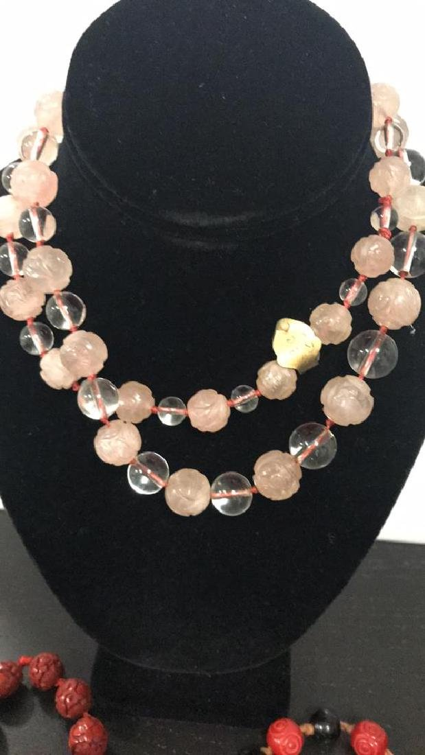 ASIAN STYLE NECKLACES INCLUDING ROSE QUARTZ - 2