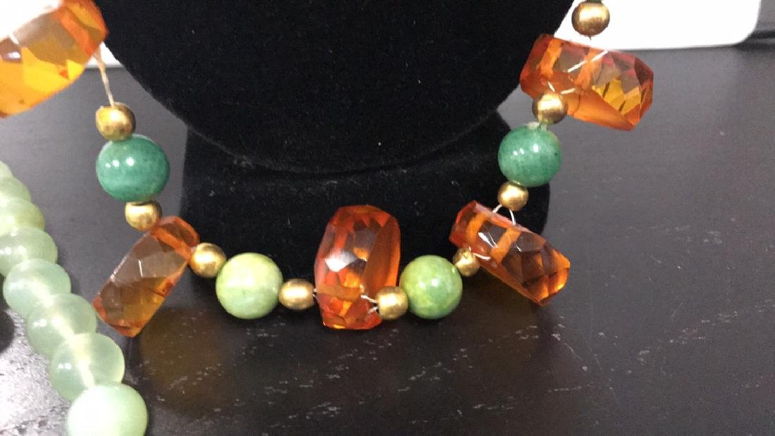 (2) NECKLACES INCLUDING JADEITE AND AMBER - 4