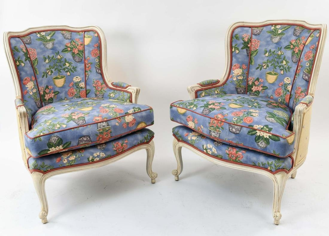 PAIR OF FRENCH STYLE UPHOLSTERED WING BACK CHAIRS