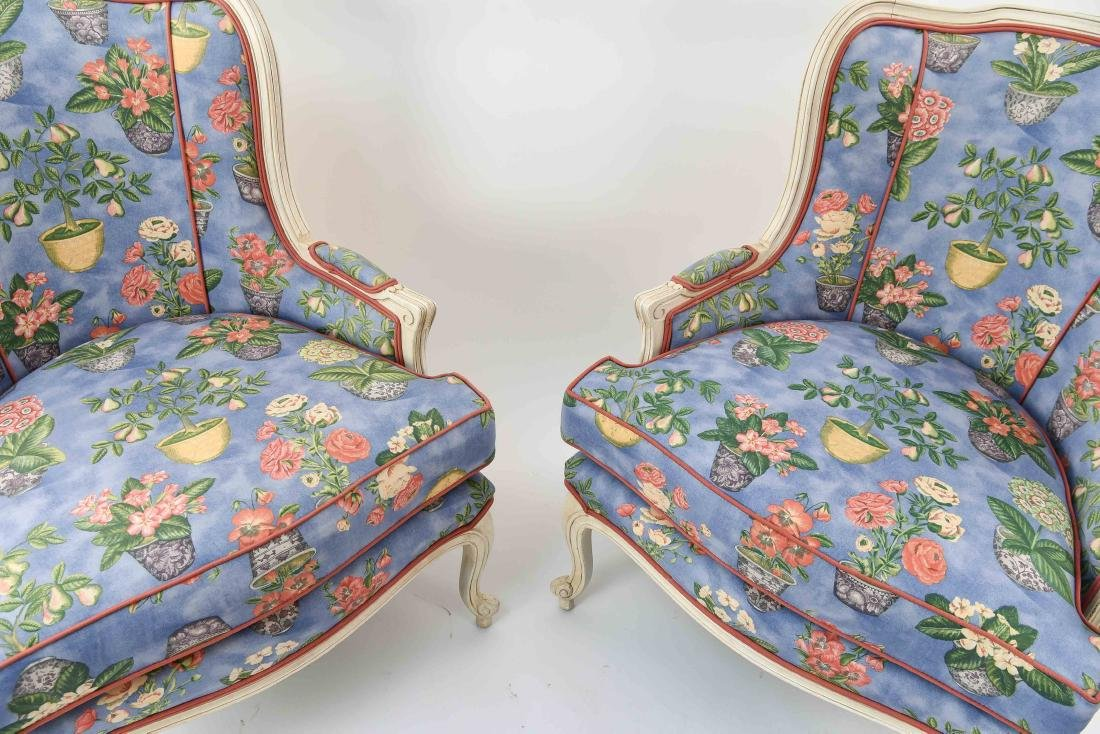 PAIR OF FRENCH STYLE UPHOLSTERED WING BACK CHAIRS - 2