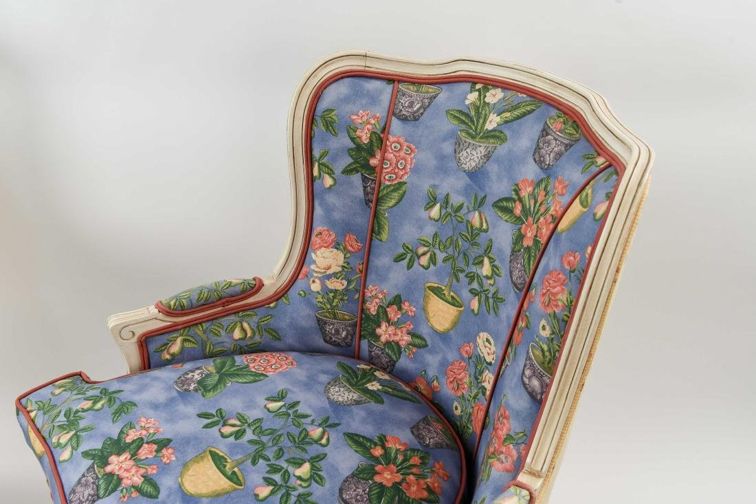 PAIR OF FRENCH STYLE UPHOLSTERED WING BACK CHAIRS - 3