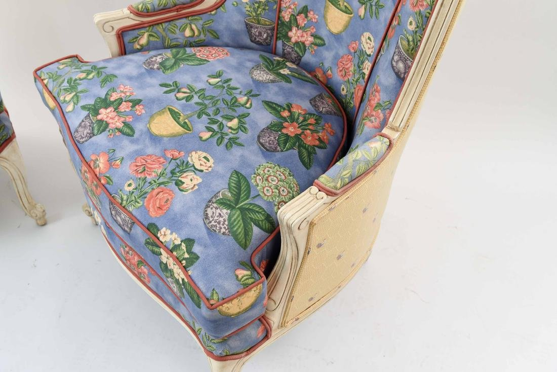 PAIR OF FRENCH STYLE UPHOLSTERED WING BACK CHAIRS - 4