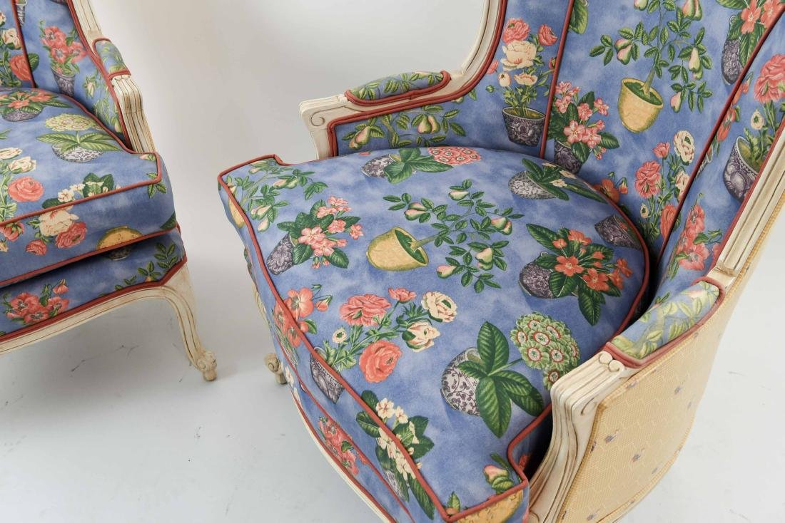 PAIR OF FRENCH STYLE UPHOLSTERED WING BACK CHAIRS - 5
