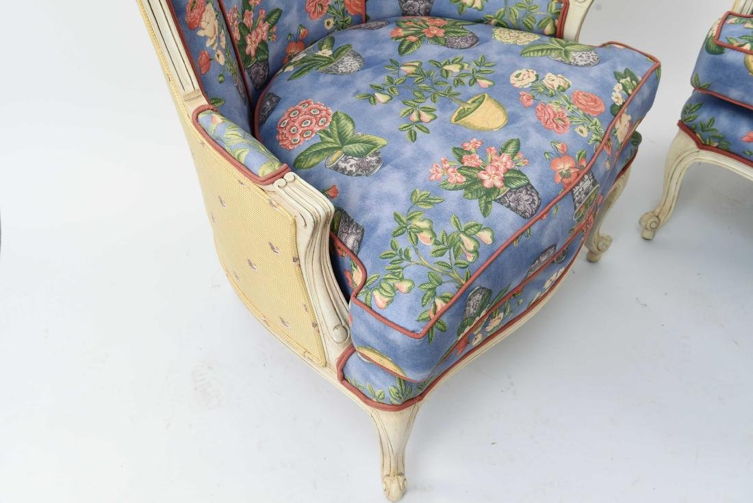 PAIR OF FRENCH STYLE UPHOLSTERED WING BACK CHAIRS - 6