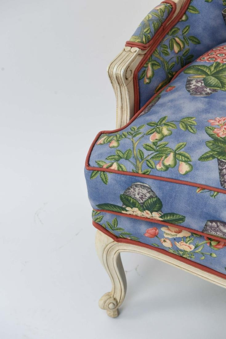 PAIR OF FRENCH STYLE UPHOLSTERED WING BACK CHAIRS - 7