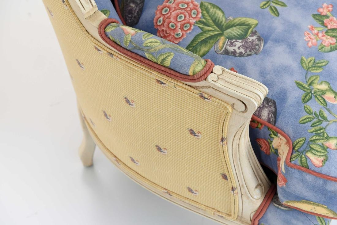PAIR OF FRENCH STYLE UPHOLSTERED WING BACK CHAIRS - 8