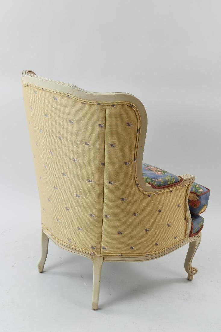 PAIR OF FRENCH STYLE UPHOLSTERED WING BACK CHAIRS - 9