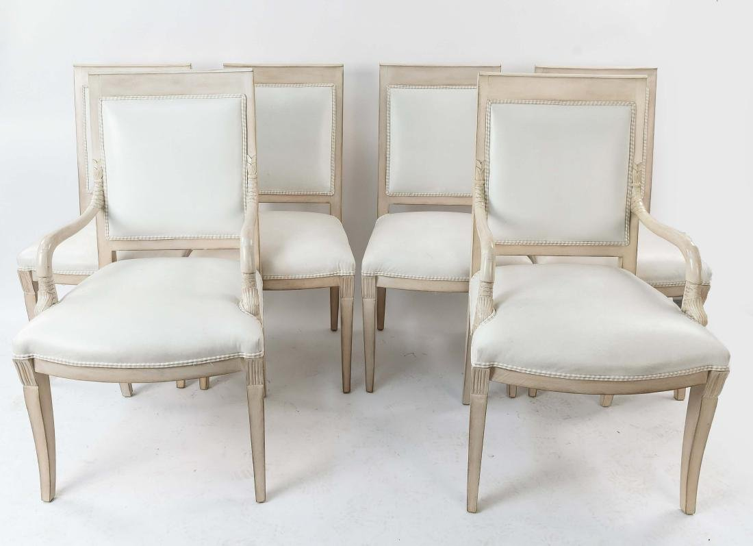 SET OF(6) FRENCH STYLE DOLPHIN ARM CHAIRS