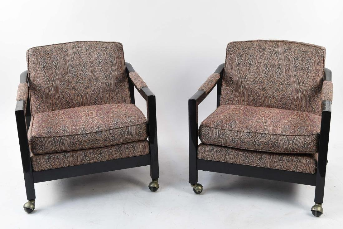 MID-CENTURY PAISLEY UPHOLSTERED LOUNGE CHAIRS