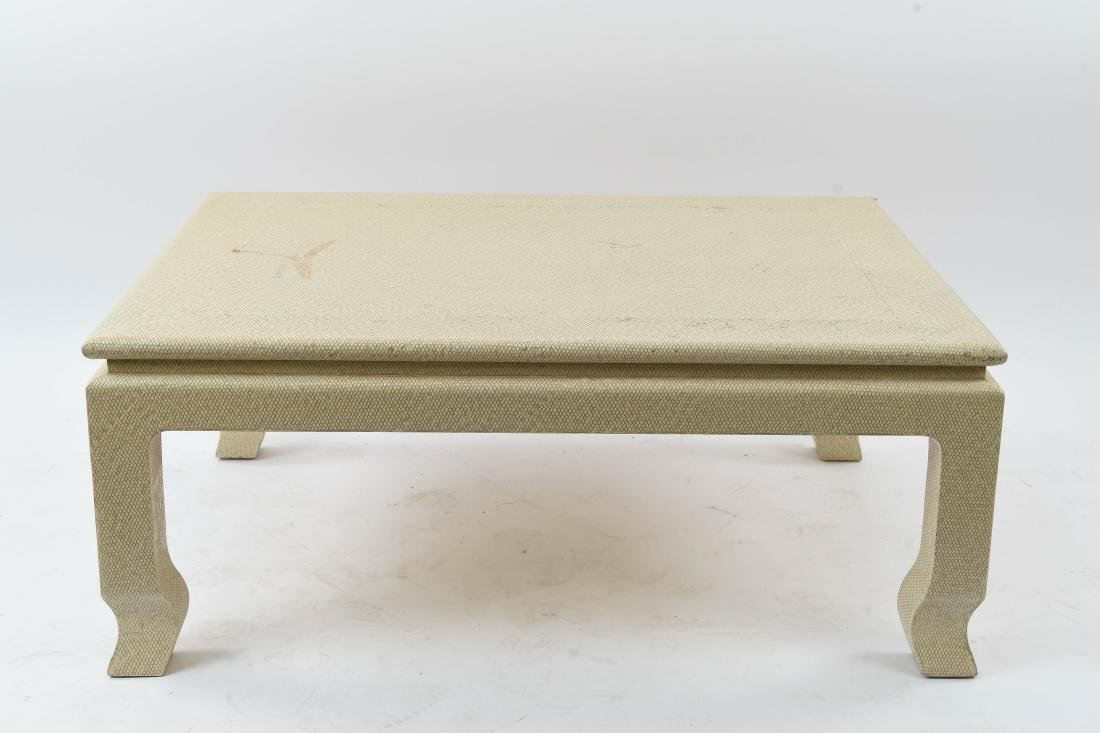 WOVEN CLOTH COVERED COFFEE TABLE