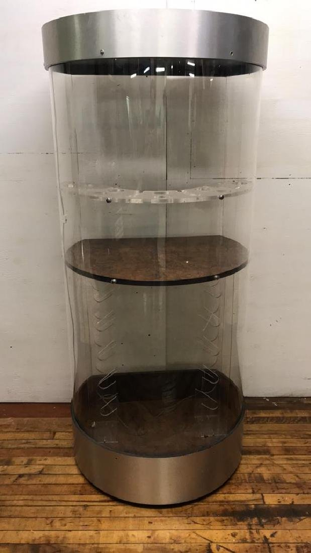 LUCITE CYLINDRICAL BAR CABINET