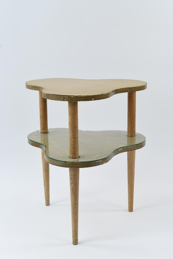 MID-CENTURY TWO-TIERED CLOVER SHAPE SIDE TABLE