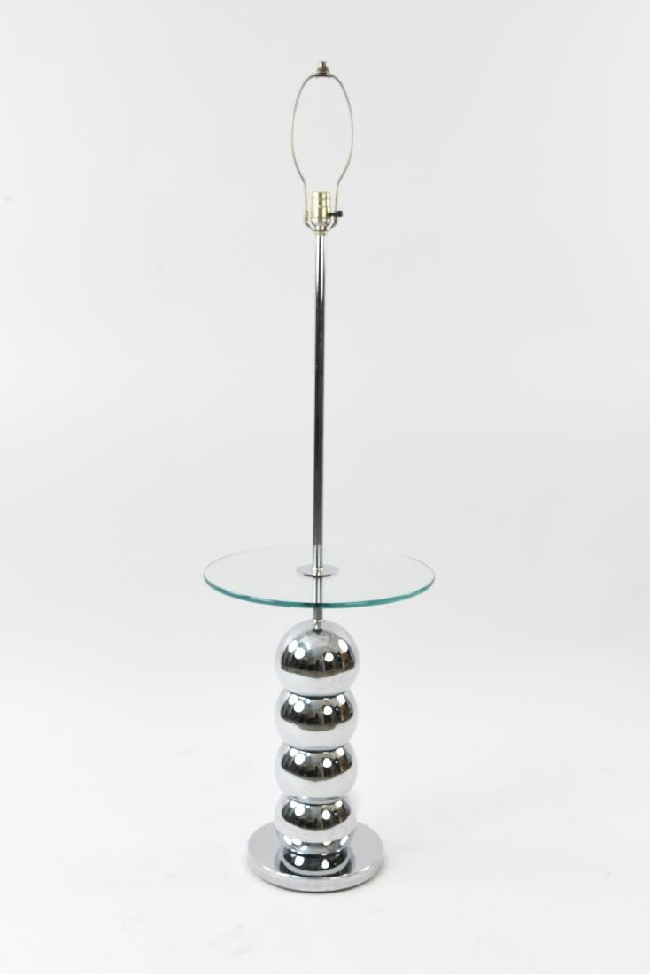 STACKED CHROME BALL LAMP TABLE