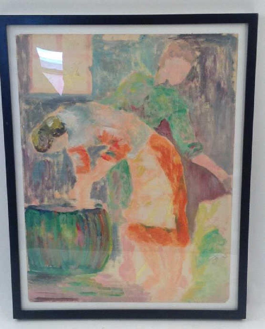 MODERNIST UNSIGNED OIL ON PAPER OF FIGURES