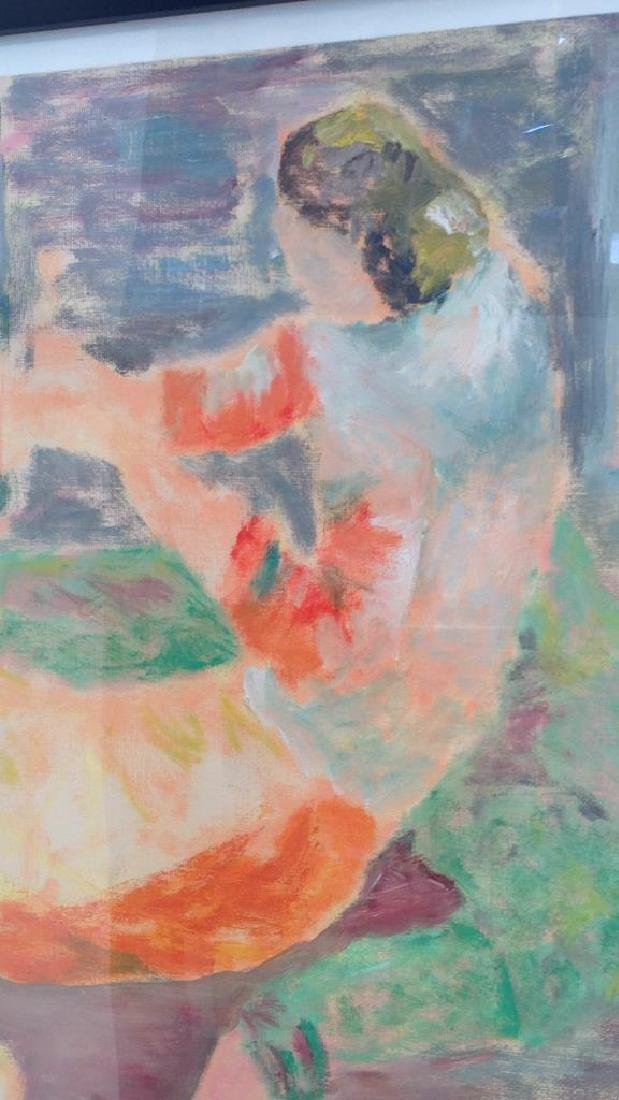 MODERNIST UNSIGNED OIL ON PAPER OF FIGURES - 3