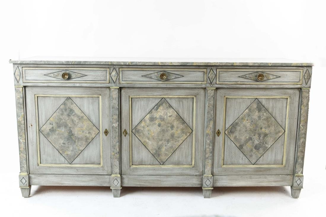 FAUX MARBLE PAINTED SIDEBOARD