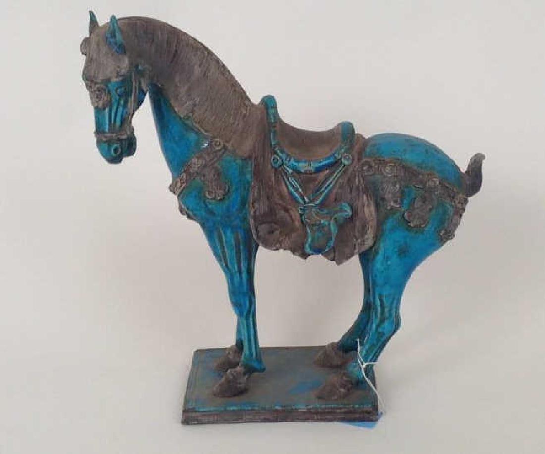 MODERN BLUE CHINESE CERAMIC HORSE