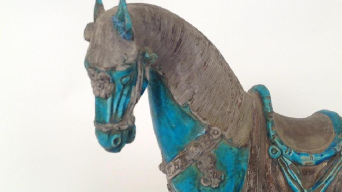 MODERN BLUE CHINESE CERAMIC HORSE - 2